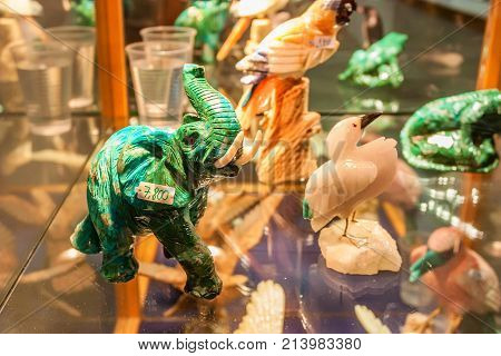 Closeup image of animals' figurines made of eilat stone