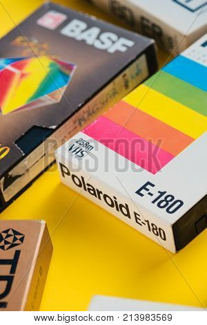 NOVI SAD SERBIA - NOVEMBER 6 2017: Various VHS video cassettes. Video Home System consumer-level analog video recording on tape cassettes standard was released in Japan in late 1970s. Retro video technology illustrative editorial.