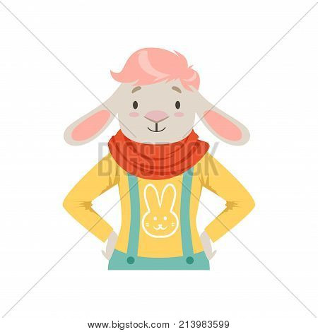 Cute fashion sheep guy character, hipster animal flat vector illustration isolated on a white background