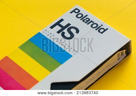 NOVI SAD SERBIA - NOVEMBER 6 2017: Polaroid VHS video cassette. Video Home System recording tape cassettes was released in Japan in late 1970s. Retro video technology illustrative editorial.