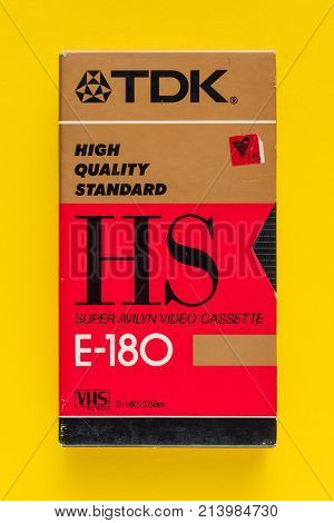 NOVI SAD SERBIA - NOVEMBER 6 2017: TDK VHS video cassette. Video Home System recording tape cassettes was released in Japan in late 1970s. Retro video technology illustrative editorial.
