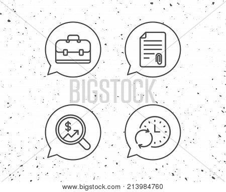 Speech bubbles with signs. Business Analytics, Attachment and Case line icons. Businessman diplomat, Update time and Audit symbols. Grunge background. Editable stroke. Vector