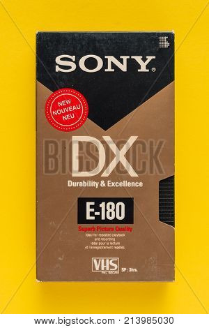 NOVI SAD SERBIA - NOVEMBER 6 2017: Sony VHS video cassette. Video Home System recording tape cassettes was released in Japan in late 1970s. Retro video technology illustrative editorial.