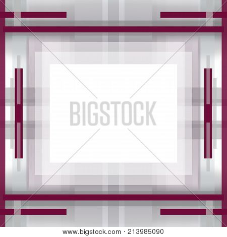 Symmetric geometric background. Abstract pattern with gray and byzantium purple strips. Template with light rectangular field for text or picture in the centre