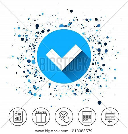 Button on circles background. Check sign icon. Yes button. Calendar line icon. And more line signs. Random circles. Editable stroke. Vector