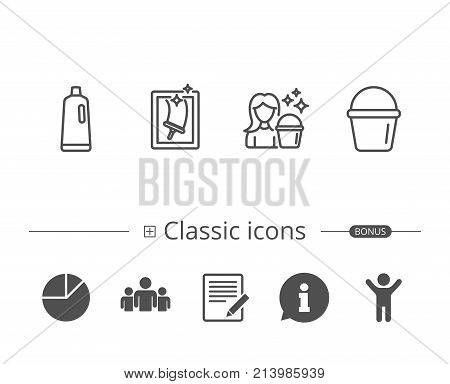 Window Cleaning, Shampoo and Maid equipment line icons. Bucket and Housekeeping service signs. Information speech bubble sign. And more signs. Editable stroke. Vector