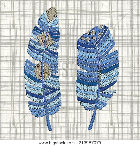 Embroidered Blue Feathers. Colorful Hoop Art. Boho, Crafts, Hand Embroidery Patterns. Hand Drawn Doo