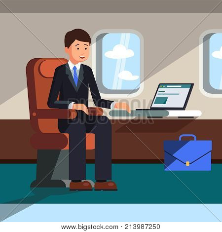 A businessman in a suit sits on an airplane during a flight and works behind a laptop. The concept of business flights in an airplane. Vector illustration.