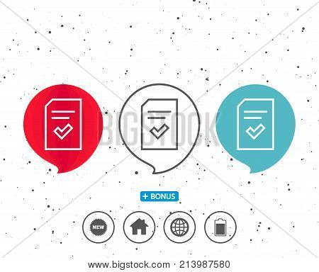 Speech bubbles with symbol. Checked Document line icon. Information File with Check sign. Correct Paper page concept symbol. Bonus with different classic signs. Random circles background. Vector
