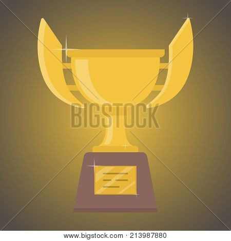 Cup for the winner of gold color with a place for an inscription. The concept of victory. Vector illustration.