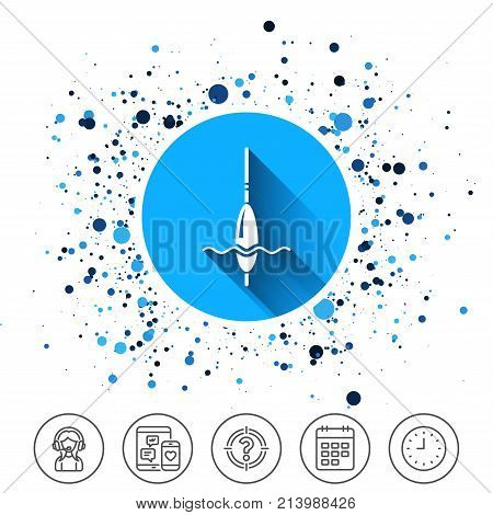 Button on circles background. Fishing sign icon. Float bobber symbol. Fishing tackle. Calendar line icon. And more line signs. Random circles. Editable stroke. Vector