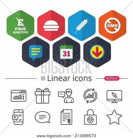 Calendar, Speech bubble and Download signs. Food additive icon. Hamburger fast food sign. Gluten free and No GMO symbols. Without E acid stabilizers. Chat, Report graph line icons. More linear signs