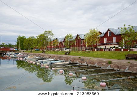 HANKO, FINLAND - JUNE 11, 2017: Cloudy June morning in the old port