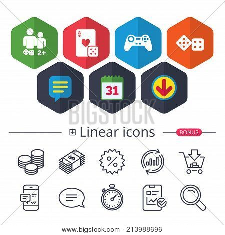 Calendar, Speech bubble and Download signs. Gamer icons. Board games players signs. Video game joystick symbol. Casino playing card. Chat, Report graph line icons. More linear signs. Editable stroke