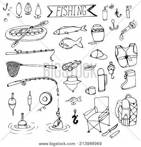 Doodle fishing rods floats, hooks, boat, tackle