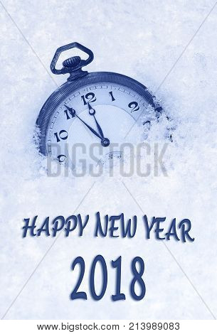 2018 New Year greeting card in English language pocket watch in snow, 2018 greeting, 2018 new year