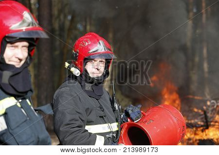 Belarus, Gomel City. Firefighting Of The Forest 06.04.2017.firefighters Preparing To Extinguish Fore
