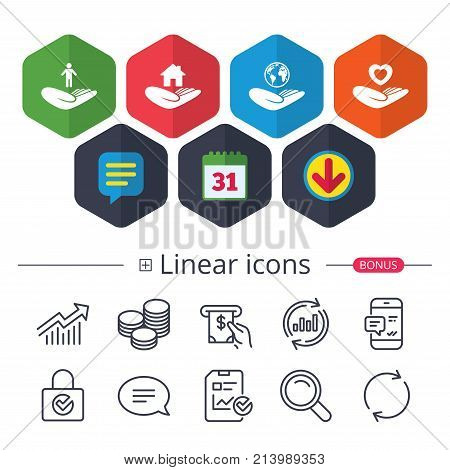 Calendar, Speech bubble and Download signs. Helping hands icons. Heart health and travel trip insurance symbols. Home house or real estate sign. Chat, Report graph line icons. More linear signs