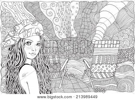 Young beautiful girl in bandana. Deck chair on a beach facing out to sea. Zentangle style. Black and white doodle coloring book page for adult and children.