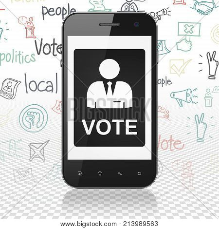 Politics concept: Smartphone with  black Ballot icon on display,  Hand Drawn Politics Icons background, 3D rendering