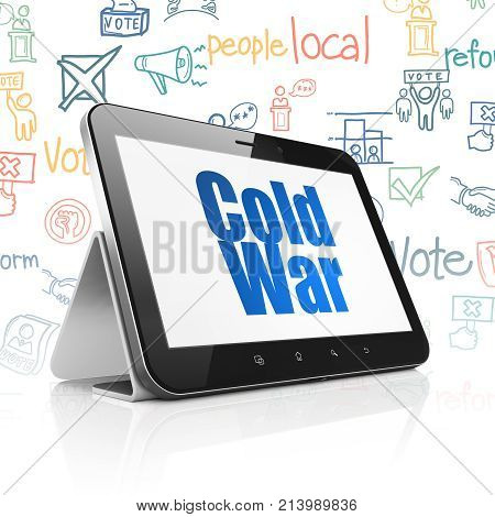 Politics concept: Tablet Computer with  blue text Cold War on display,  Hand Drawn Politics Icons background, 3D rendering