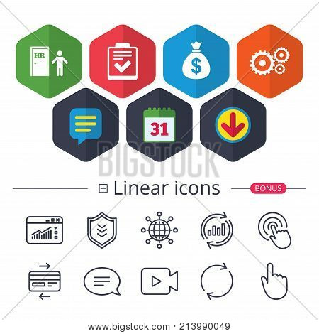Calendar, Speech bubble and Download signs. Human resources icons. Checklist document sign. Money bag and gear symbols. Man at the door. Chat, Report graph line icons. More linear signs. Vector