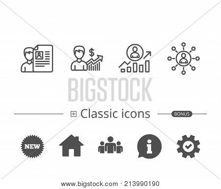 CV, Business Networking and Get a Job line icons. Work results and Growth chart signs. Information speech bubble sign. And more signs. Editable stroke. Vector