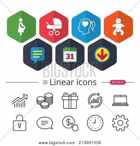 Calendar, Speech bubble and Download signs. Maternity icons. Baby infant, pregnancy and buggy signs. Baby carriage pram stroller symbols. Head with heart. Chat, Report graph line icons. Vector poster