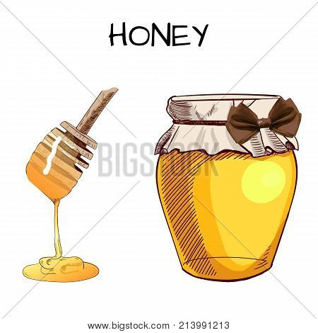 Hand drawn VECTOR jar of honey with realistic bow and sketched honey spoon, isolated on white sketches.