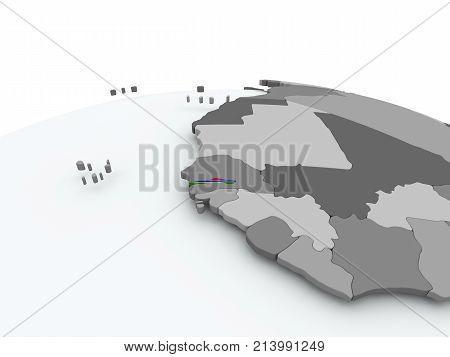 Flag Of Gambia On Globe