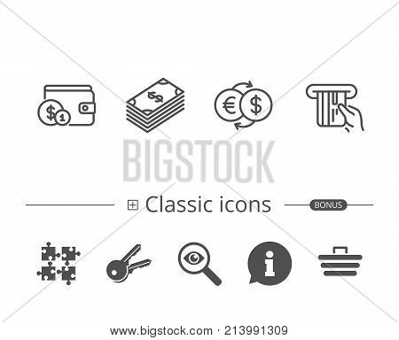 Money, Cash and Wallet line icons. Credit card, Currency exchange and Coins signs. Banking, Euro and Dollar symbols. Information speech bubble sign. And more signs. Editable stroke. Vector