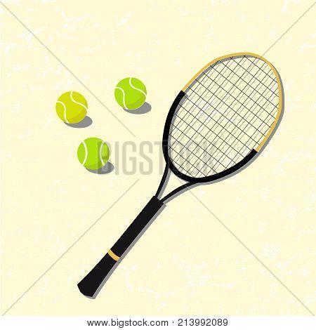 Tennis balls and tennis racquet, vector illustration. Yellow and green tennis balls. Tennis design over light pink background vector illustration. Sport vector design. Sport, fitness, activity.