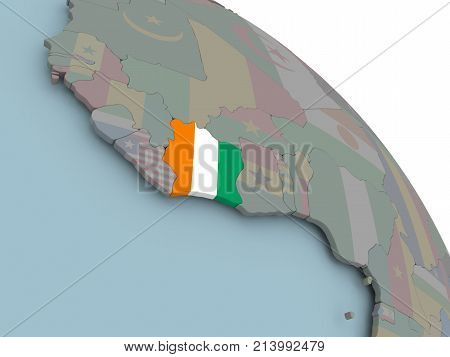 Map Of Ivory Coast With Flag