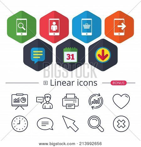 Calendar, Speech bubble and Download signs. Phone icons. Smartphone video call sign. Search, online shopping symbols. Outcoming call. Chat, Report graph line icons. More linear signs. Editable stroke
