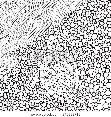 Coloring book page for adult and children. Turtle crawls to the water sea waves in zentangle style. Hand-drawn doodles. Black and white pattern for coloring book. Beautiful and Fun Image to color In.