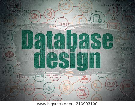 Database concept: Painted green text Database Design on Digital Data Paper background with  Scheme Of Hand Drawn Programming Icons