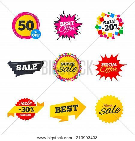 Sale banners templates. Best offers, discounts tags. Market flyers or Clearance special offers. Shopping stars and ribbons. Vector