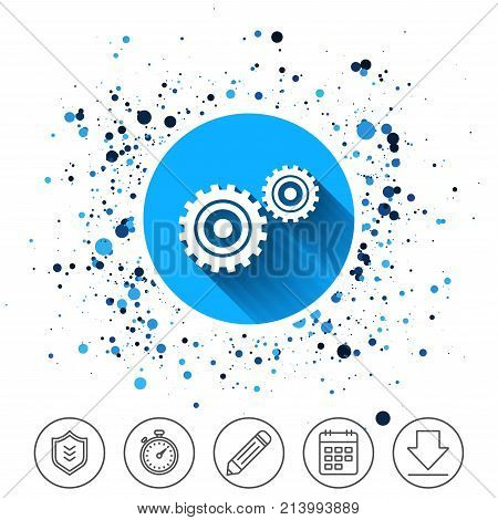 Button on circles background. Cog settings sign icon. Cogwheel gear mechanism symbol. Calendar line icon. And more line signs. Random circles. Editable stroke. Vector