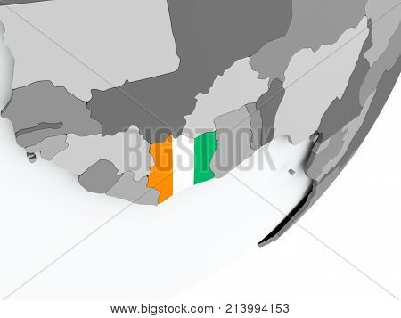 Flag Of Ivory Coast On Map