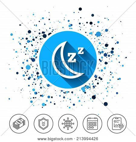 Button on circles background. Sleep sign icon. Moon with zzz button. Standby. Calendar line icon. And more line signs. Random circles. Editable stroke. Vector