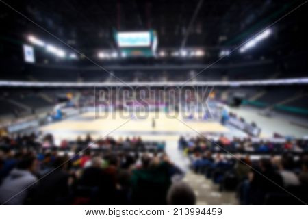blurred sports arena during a basketball game