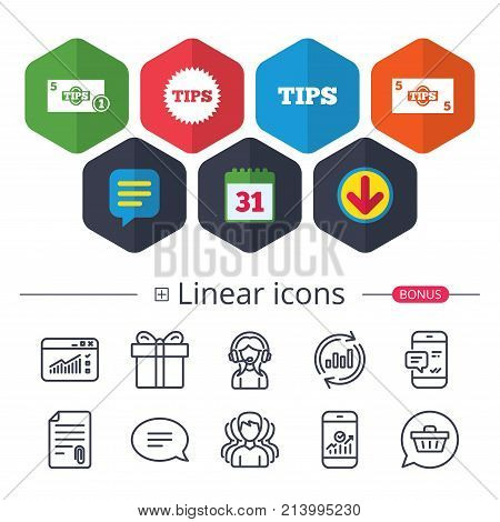 Calendar, Speech bubble and Download signs. Tips icons. Cash with coin money symbol. Star sign. Chat, Report graph line icons. More linear signs. Editable stroke. Vector