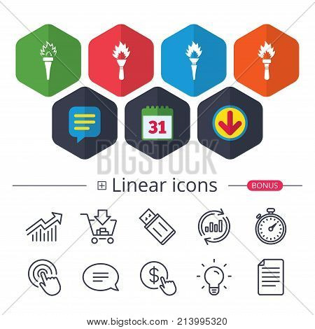 Calendar, Speech bubble and Download signs. Torch flame icons. Fire flaming symbols. Hand tool which provides light or heat. Chat, Report graph line icons. More linear signs. Editable stroke. Vector