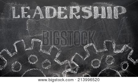 The Blackboard Writing With Chalk And The Concept Of Business, The Text `leadership`, And Two Chalk