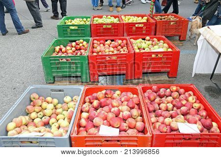 Huge Boxes Of Fruit With The Ripe Apples For Sale At Market