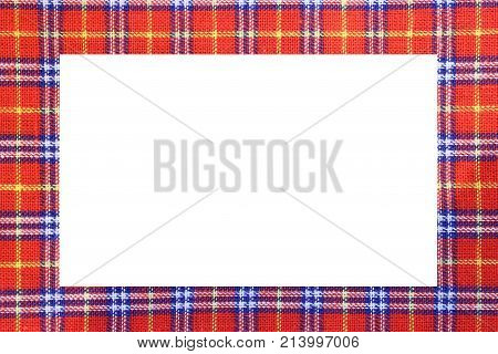 Tartan Type Scottish Frame With A White Space To Write A Message