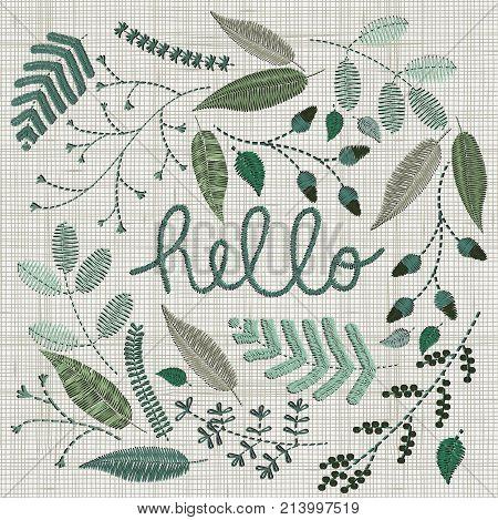 Set Of Embroidery Floral Elements, Leaves, Twigs, Berries, Flowers, Meadow. Colorful Hoop Art Is Cen