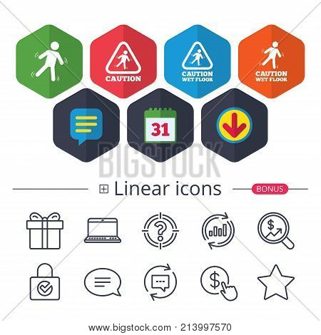 Calendar, Speech bubble and Download signs. Caution wet floor icons. Human falling triangle symbol. Slippery surface sign. Chat, Report graph line icons. More linear signs. Editable stroke. Vector