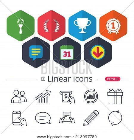 Calendar, Speech bubble and Download signs. First place award cup icons. Laurel wreath sign. Torch fire flame symbol. Prize for winner. Chat, Report graph line icons. More linear signs. Vector
