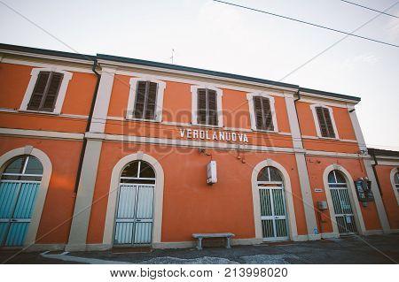 Stop The Train Station Verolanuova Regional Train In Italy.